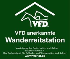 Schild der VFD anerkannten Wanderreitstation ©Vereinigung der Freizeitreiter und -fahrer in Deutschland e.V.